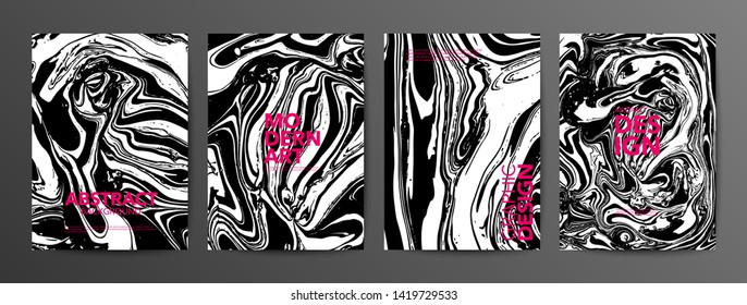 Monochrome ebru stains banners vector set. Black and white suminagashi backgrounds with pink typography. Modern art posters with text space. Liquid paintings, abstract surface illustrations