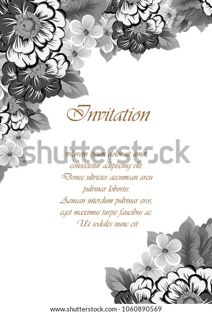 monochrome elegant frame of flowers. For your design of greeting cards, birthday cards and invitations, wedding, party and more. Vector illustration.