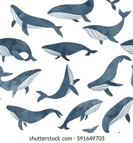 Monochrome and elegant seamless pattern with whales.