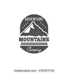 Monochrome emblem , adventure mountains camping , vintage camping and forest badge for camping decoration or printing. isolated Vector stock Illustration.