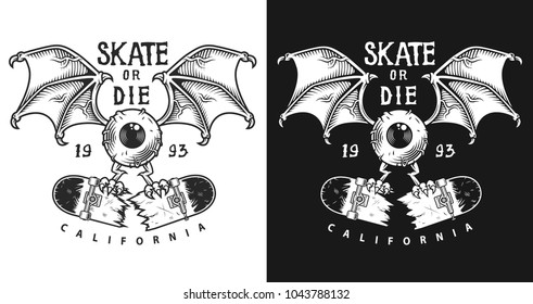 Monochrome emblem design with eye wings and cracked skate, vector illustration