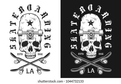 Monochrome emblem design with skull and skate, vector illustration