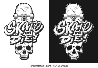 Monochrome emblem design with skull and skate dca6adc28b0