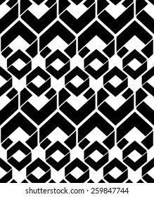 Monochrome endless vector texture with geometric figures, motif abstract contemporary geometric background. Creative black and white symmetric continuous pattern.