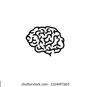 Monochrome engraved human brain in side view with print style illustration isolated on white background. Brain intelligence mind sign. Central nervous system organ icon.