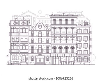 Monochrome Europe city street scene with old european houses facades. Modern town neighborhood skyline with old townhouse residential buildings in line art. Outline San Francisco cityscape background.