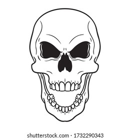 monochrome evil flashing skull with an open mouth. vector drawing isolated on white.