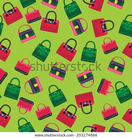 6dcbded389 Use as fabrics   Wallpaper   background   wrapping paper.Vector Fashion  seamless pattern.Colored women s handbags