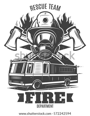 Monochrome Firefighting Template Rescue Mask Fire Stock Vector