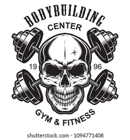 Monochrome fitness logo template with skull and crossed dumbbells isolated vector illustration