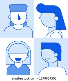Monochrome flat cartoon characters geometric style people avatars set,web online social network concept.Modern geometry character head faces portraits for media design,web page profile,forum,chat use