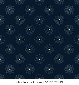 Monochrome floral octagon pattern simple geometric arrangement. Delicate indian flowers all over print block for apparel textile, ladies dress fabric, fashion garment, silk scarf, swimwear, mens shirt