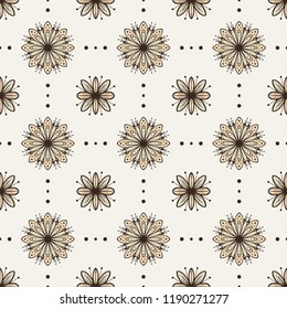 Monochrome flowers vector seamless pattern on light background.