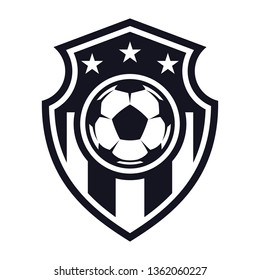 Monochrome, football flat icon, soccer ball, shield and stars. Sport games. Vector illustration, isolated on white background. Simple shape for design logo, emblem, symbol, sign, badge, label, stamp.