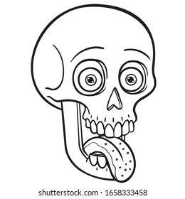 monochrome funny illustration of a skull with tongue out and crazy look.  Vectors, comic, Halloween, horror, coloring.