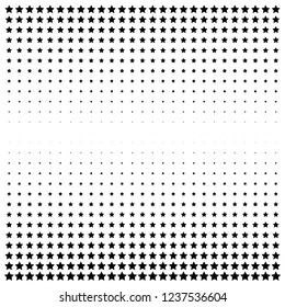 Monochrome geometric halftone illustration. Black stars on white background.