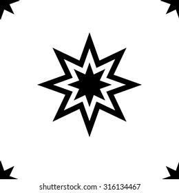 Monochrome geometric seamless pattern with eight-pointed Christmas stars