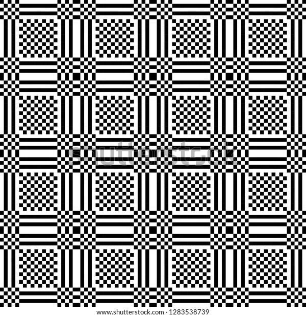 Monochrome Geometric Shapes Optical Illusion Wallpaper Stock