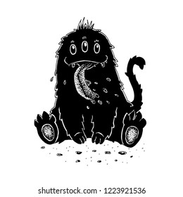 Monochrome graphic hand drawn three-eyed cute drooling monster with long tongue isolated on white background.