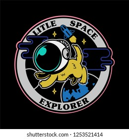 monochrome graphic vintage icons embroidered patches stickers pins with first little dog astronaut in space explorer . Modern vector mascot logo trendy print for clothes t shirt sweatshirt poster kids
