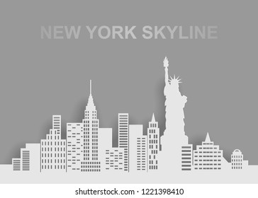 monochrome grey skyline of a New York with statue of liberty, paper cut art style, vector illustration
