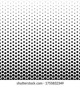 Monochrome Halftone Background. Transitions from large to small black dots isolated on white background. Vector retro illustration in pop art style. Comic polka dots texture. Gradient Grunge Backdrop