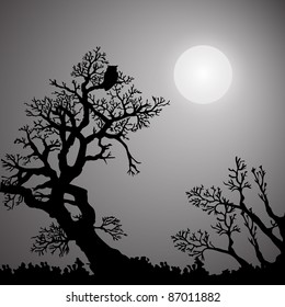 Monochrome Halloween background with trees, owl and moon (eps8)