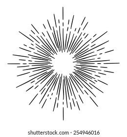 monochrome hand draw hipster style retro vector  starburst with ray for badge label or logo