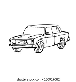 Monochrome hand drawn car on white background, black and white illustrated sedan.