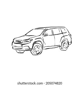 Monochrome hand drawn car on white background, black and white illustrated SUV.