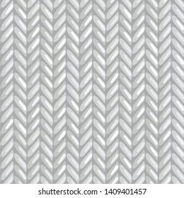 Monochrome hand drawn seamless pattern of knitting. Vector herringbone pattern