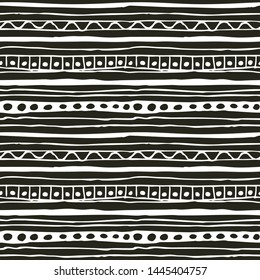 Monochrome hand drawn seamless pattern. Vector black and white doodle ornament with stripes and dots