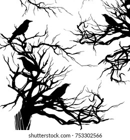 Monochrome hand drawn watercolor ink illustration with branches, twigs and black ravens. Crows on the old dead tree. Scary Halloween background.