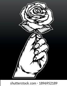 Monochrome hand holding rose. Premium vector