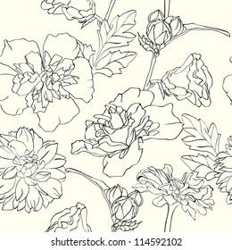 Monochrome Hand-drawn floral wallpaper, elegant design, seamless