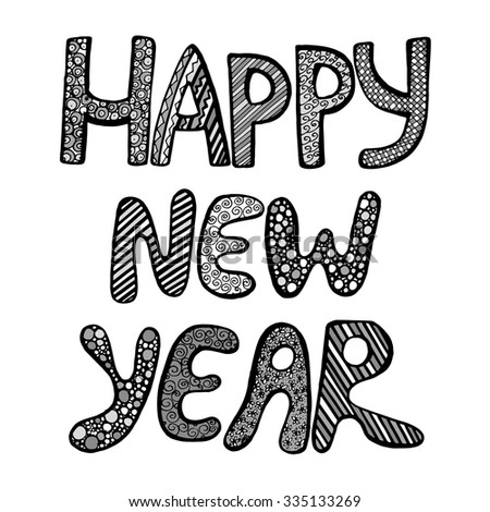 Monochrome Happy New Year Fun Doodle Stock Vector (Royalty Free ...
