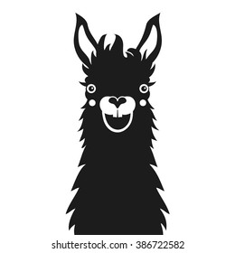 Monochrome happy smiley face llama. Vector black and white illustration with funny animal