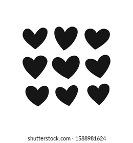 Monochrome heart silhouette in various shapes isolated on white. Simple flat hearty design