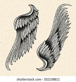 Monochrome heraldic wings