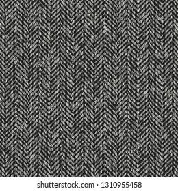 Monochrome Herringbone Brushed Textured Background. Seamless Pattern.