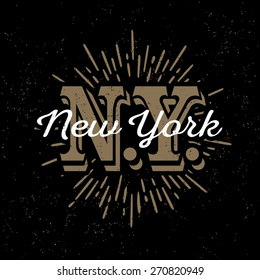 "monochrome hipster vintage label, badge, logo  ""New York"" for poster,  flyer or t-shirt print with monogram and star burst"