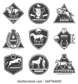 Monochrome horse racing labels set with jockeys riding stallions and rider equipment isolated vector illustration