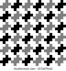 Monochrome houndstooth pattern exaggerated geo repeat motif black and white template. Trendy print block for patchwork fabric, apparel textile, silk scarf, decoupage paper, interior wallpaper, package