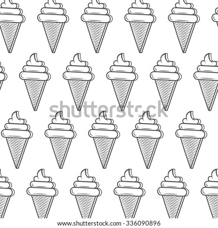 Monochrome Ice Cream Cone Seamless Pattern Stock Vector Royalty