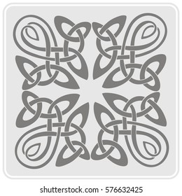 monochrome icon with Celtic art and ethnic ornaments for your design