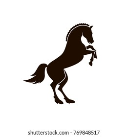 monochrome icon of horse silhouette on white background