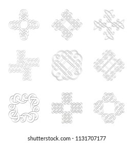 monochrome icon set with Celtic art and ethnic ornaments for your design