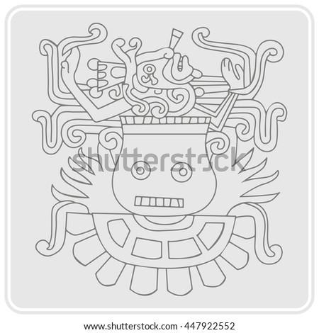 Monochrome Icon Symbols Aztec Codices Your Stock Vector Royalty
