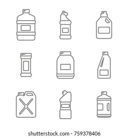 monochrome icons set with bottles with cleaning chemical products  for your design