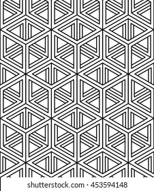 Monochrome illusory abstract geometric seamless pattern with 3d geometric figures. Vector black and white striped backdrop.